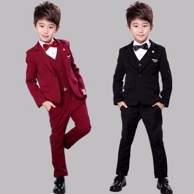 男童西装礼服套装春秋款儿童小西服三件套花童婚礼服男孩秋季衣服