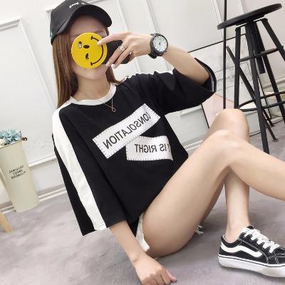 2018新款韩版印花七分袖女t恤夏女短袖圆领修身学生小清新短袖女