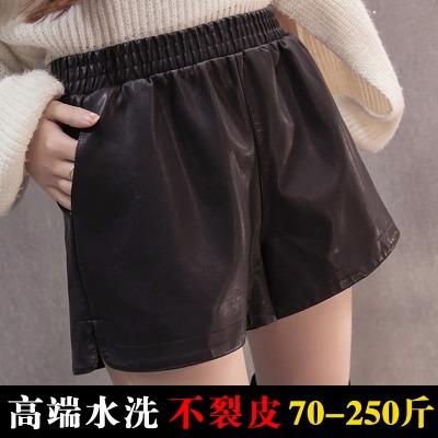 松紧腰pu皮短裤女高腰阔腿A字裤宽松大码打底短裤女学生休闲热裤