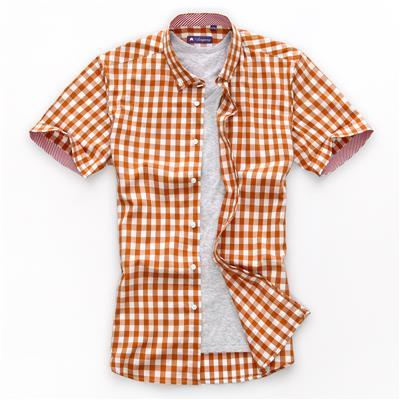 朗蒙高支液氨免烫水洗纯棉男短袖衬衫修身韩版男格子男士短袖衬衣