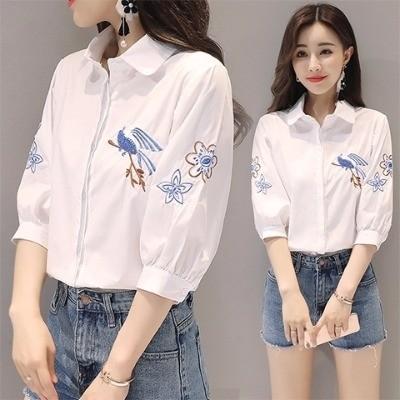 衬衫女装白女学生韩版新款女衬衫短袖衫男女生娃娃衫上衣恤女夏露