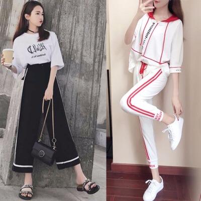 两件套女装夏学生夏季套装黑色喇叭裤女校服韩版春季女裤春装女长