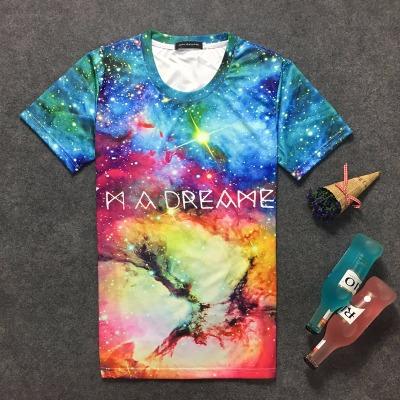 夏季男士短袖t恤青少年学生3D印花星空圆领大码半袖体恤上衣男装