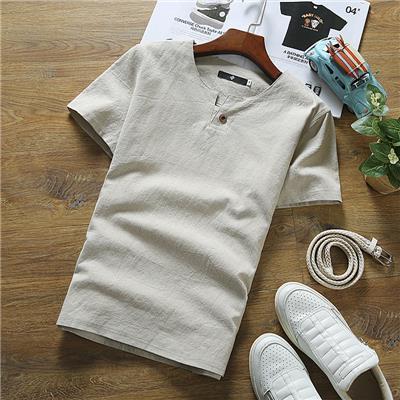 男短袖t恤潮流201新款韩版修身夏季棉麻薄款v领纯色复古亚麻半袖
