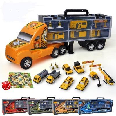 儿童大货柜车玩具模型12只合金仿真小汽车男孩女孩玩具车生日礼物