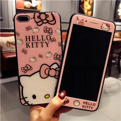 苹果iphone6s钢化膜全屏8plus1壳防爆贴7plus卡通KT猫玻璃彩膜玻
