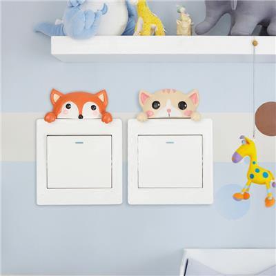 欧式开关贴创意卡通可爱动物插座房间墙壁装饰树脂保护套个性墙贴