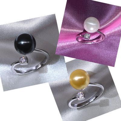 大溪地黑珍珠戒指女 贝珠圆形日韩国简约925纯银指环开口可调节