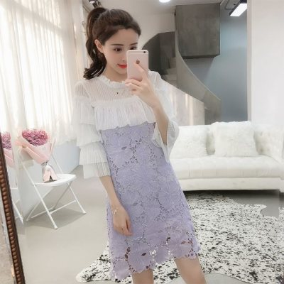 裙子春季2018新款女韩版修身七分袖蕾丝连衣裙温柔小清新仙女裙夏