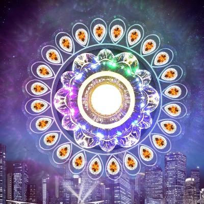 七彩LED水晶过道灯走廊灯天花灯客厅吊顶玄关灯孔雀入户门厅筒灯