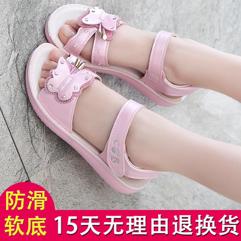 女童凉鞋 洋气夏儿童学生公主鞋网红小女孩宝宝鞋2020年新款韩版