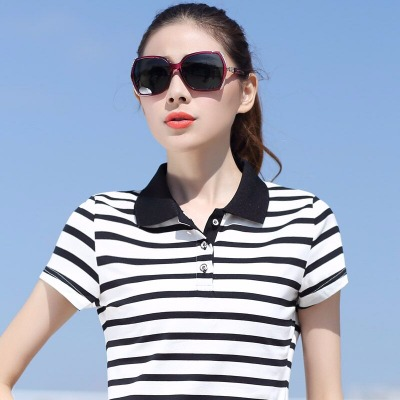 夏季条纹翻领短袖T恤大码运动女装带领宽松中年妈妈装纯棉polo衫