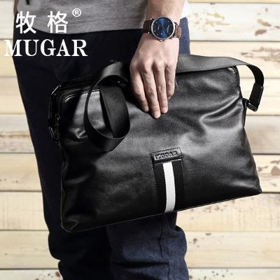 【MUGAR】2020新款单肩包耐磨皮革男士包包男士斜挎包商务男包