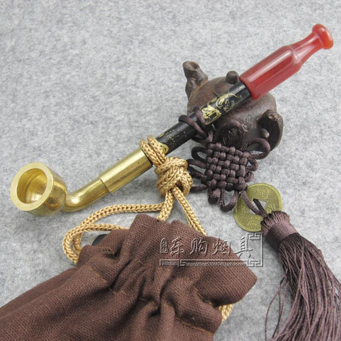 传统手工烟斗 老式烟袋锅旱烟袋 黄铜烟锅实木烟杆玛瑙烟嘴烟斗