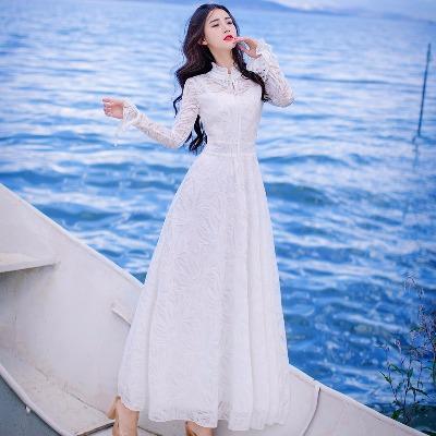 很仙的夏新款白色蕾丝绣花韩版修身时尚清新优雅女连衣裙仙女长裙