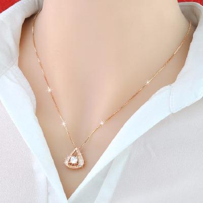 银项链女银镀黄金玫瑰金项链女水滴项链情人节简约送女友生日礼物