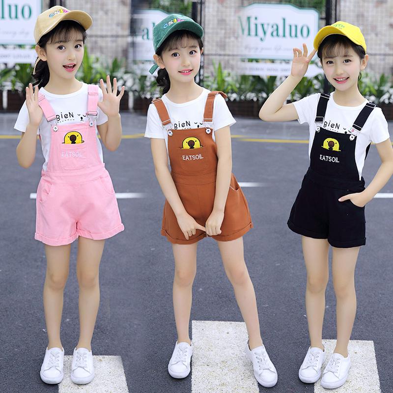 童装女童背带裤套装夏装韩版两件套中大童女孩学生T恤衫背带短裤