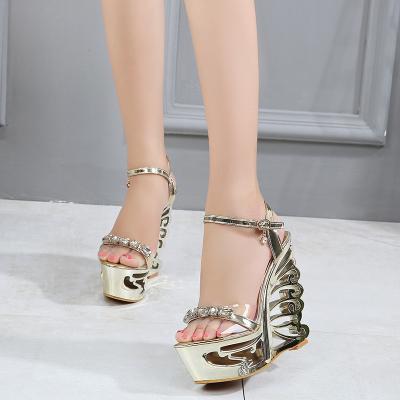 厚底坡跟凉鞋女夏15CM一字扣带防水台鱼嘴鞋异形跟超高跟公主女鞋